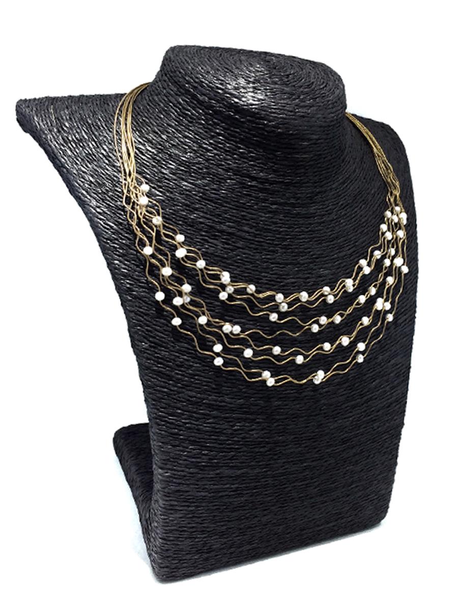 Magnifique collier de perles en or jaune 14k et perles d'eau douce 16 pouces